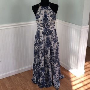 Blue and white (paisley print) maxi dress